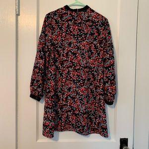 LOFT Dresses - LOFT floral velour trim swing dress
